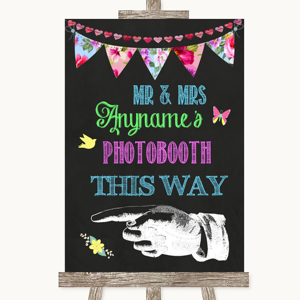 Bright Bunting Chalk Photobooth This Way Left Personalised Wedding Sign