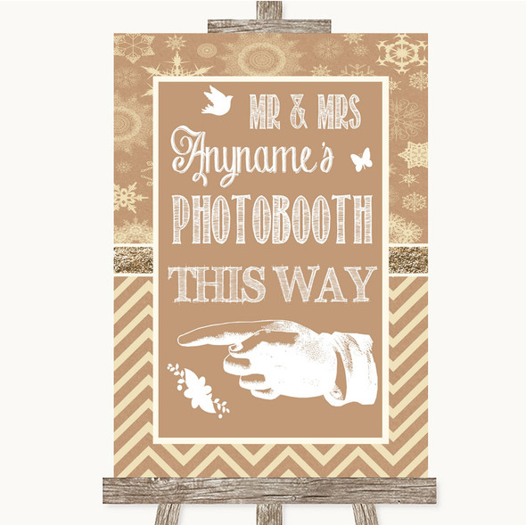 Brown Winter Photobooth This Way Left Personalised Wedding Sign