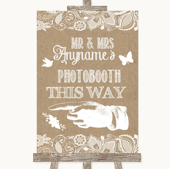 Burlap & Lace Photobooth This Way Left Personalised Wedding Sign