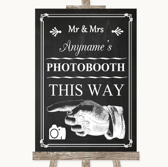Chalk Style Photobooth This Way Left Personalised Wedding Sign
