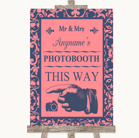 Coral Pink & Blue Photobooth This Way Left Personalised Wedding Sign