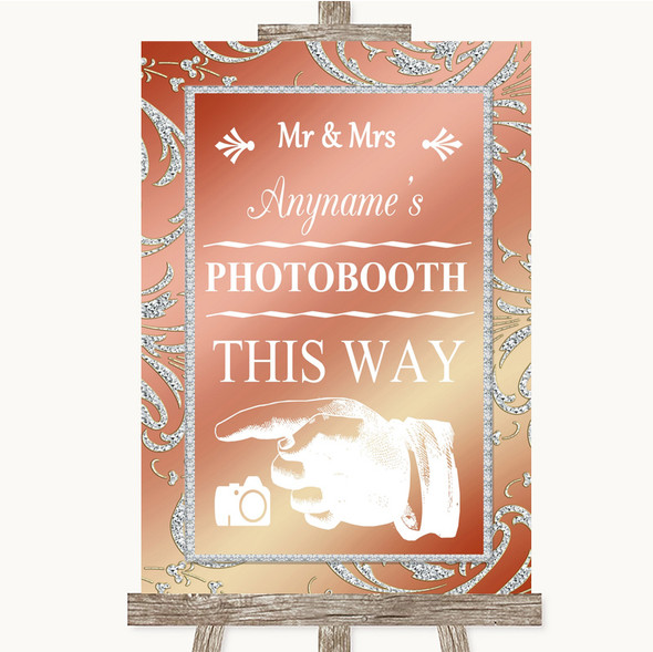 Coral Pink Photobooth This Way Left Personalised Wedding Sign