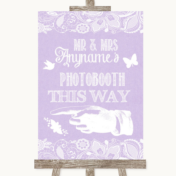 Lilac Burlap & Lace Photobooth This Way Left Personalised Wedding Sign