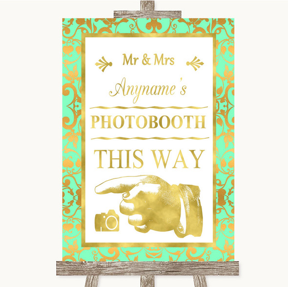 Mint Green & Gold Photobooth This Way Left Personalised Wedding Sign