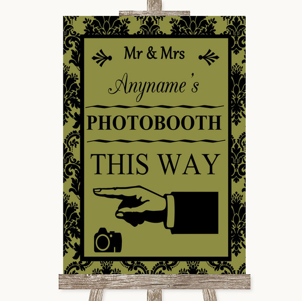 Olive Green Damask Photobooth This Way Left Personalised Wedding Sign
