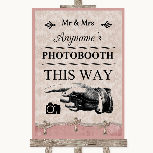 Pink Shabby Chic Photobooth This Way Left Personalised Wedding Sign