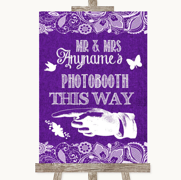 Purple Burlap & Lace Photobooth This Way Left Personalised Wedding Sign