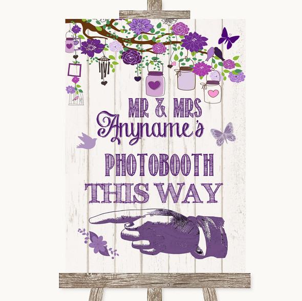 Purple Rustic Wood Photobooth This Way Left Personalised Wedding Sign