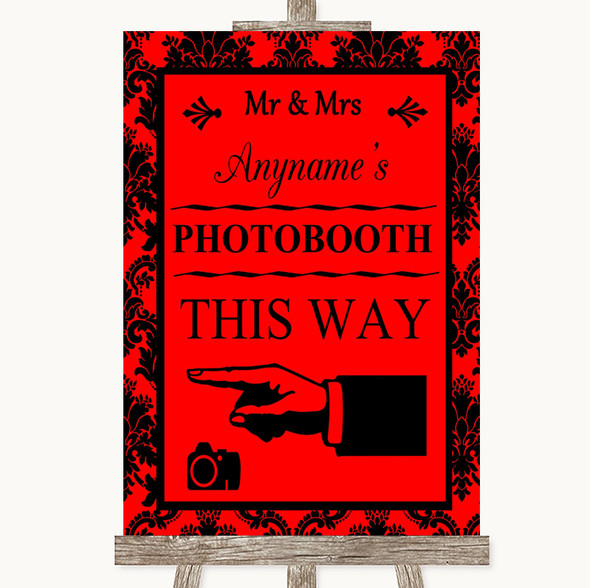 Red Damask Photobooth This Way Left Personalised Wedding Sign