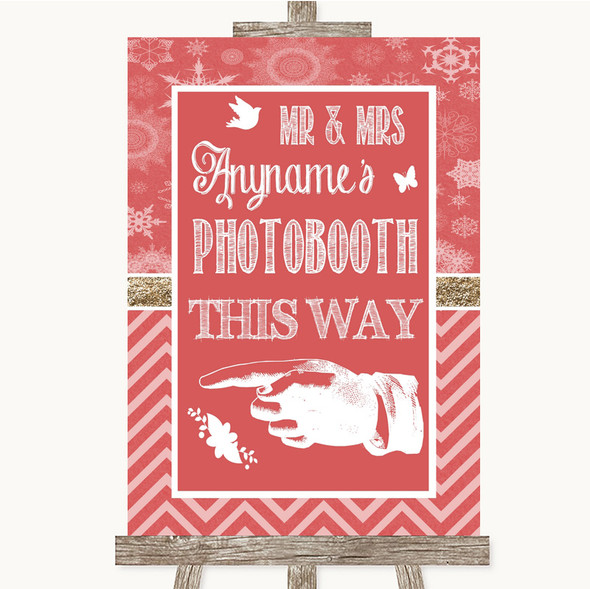 Red Winter Photobooth This Way Left Personalised Wedding Sign