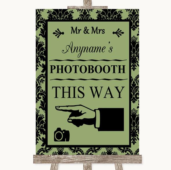 Sage Green Damask Photobooth This Way Left Personalised Wedding Sign
