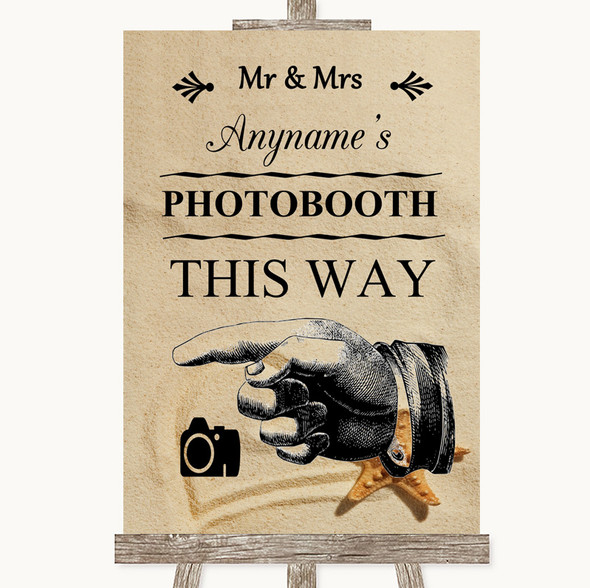 Sandy Beach Photobooth This Way Left Personalised Wedding Sign