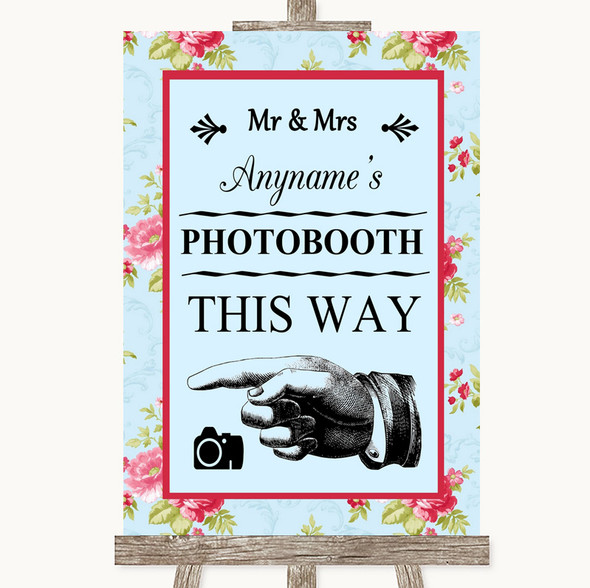 Shabby Chic Floral Photobooth This Way Left Personalised Wedding Sign