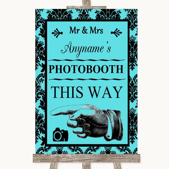 Tiffany Blue Damask Photobooth This Way Left Personalised Wedding Sign