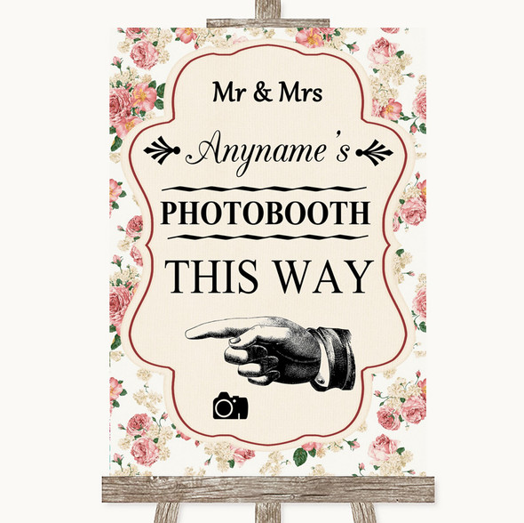 Vintage Roses Photobooth This Way Left Personalised Wedding Sign