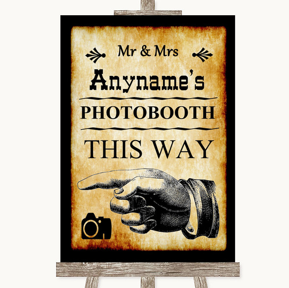 Western Photobooth This Way Left Personalised Wedding Sign