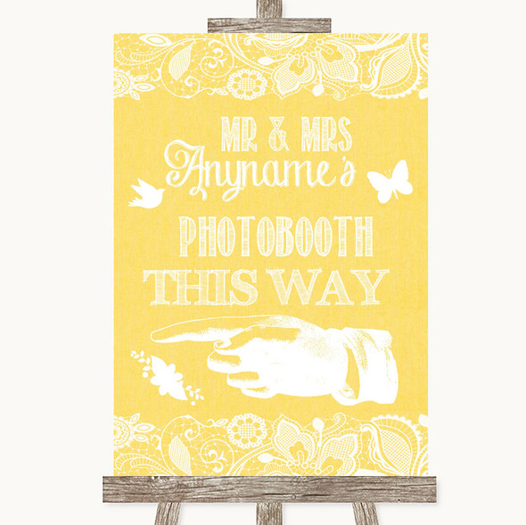 Yellow Burlap & Lace Photobooth This Way Left Personalised Wedding Sign