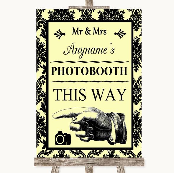 Yellow Damask Photobooth This Way Left Personalised Wedding Sign