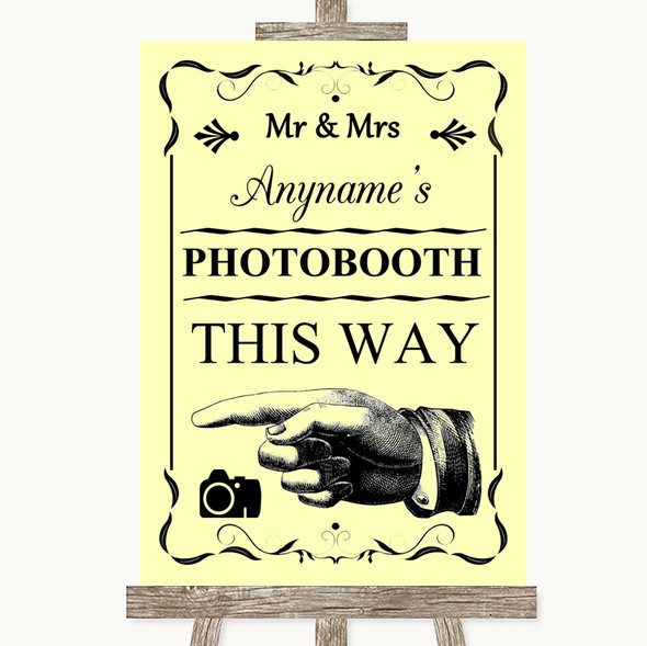 Yellow Photobooth This Way Left Personalised Wedding Sign