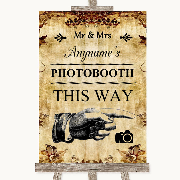 Autumn Vintage Photobooth This Way Right Personalised Wedding Sign