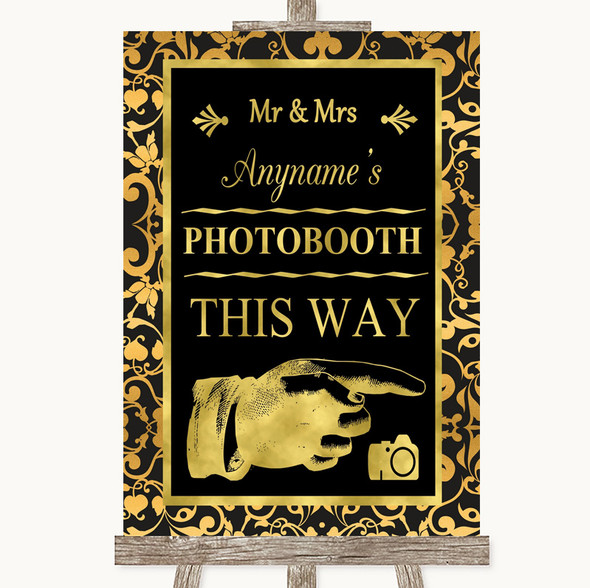 Black & Gold Damask Photobooth This Way Right Personalised Wedding Sign