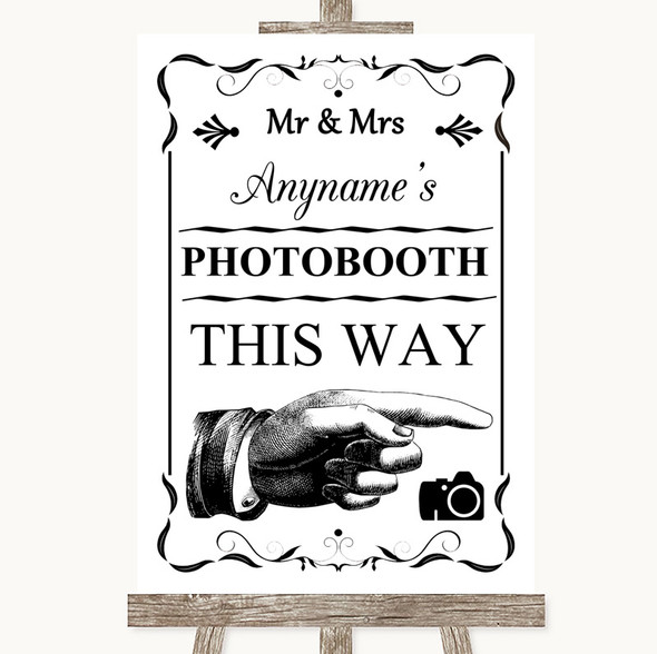 Black & White Photobooth This Way Right Personalised Wedding Sign