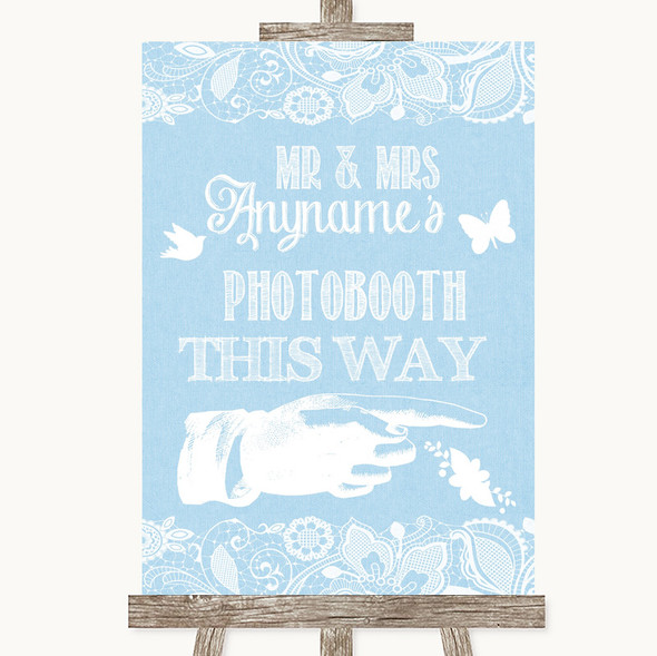 Blue Burlap & Lace Photobooth This Way Right Personalised Wedding Sign