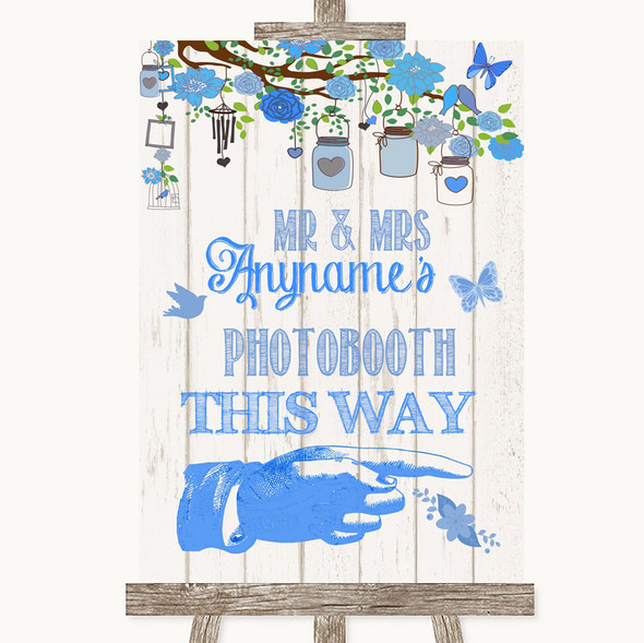 Blue Rustic Wood Photobooth This Way Right Personalised Wedding Sign