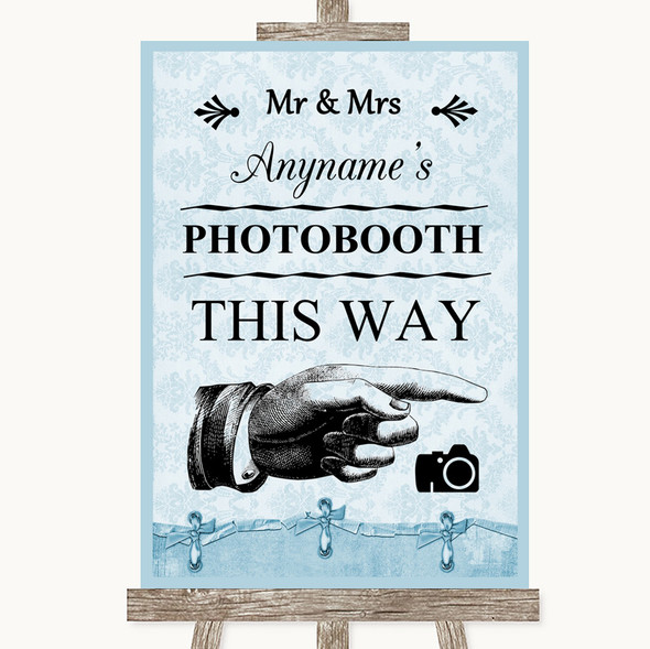 Blue Shabby Chic Photobooth This Way Right Personalised Wedding Sign