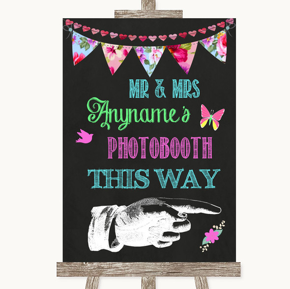 Bright Bunting Chalk Photobooth This Way Right Personalised Wedding Sign