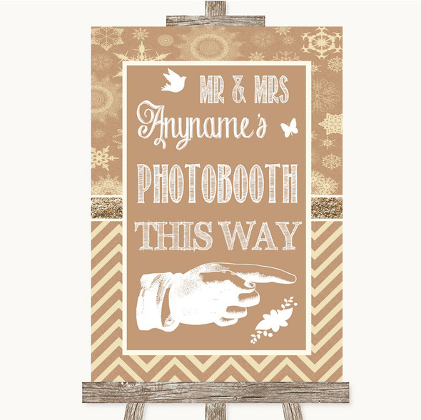 Brown Winter Photobooth This Way Right Personalised Wedding Sign