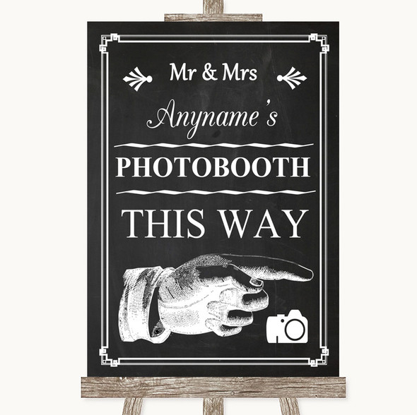 Chalk Style Photobooth This Way Right Personalised Wedding Sign