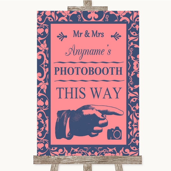 Coral Pink & Blue Photobooth This Way Right Personalised Wedding Sign