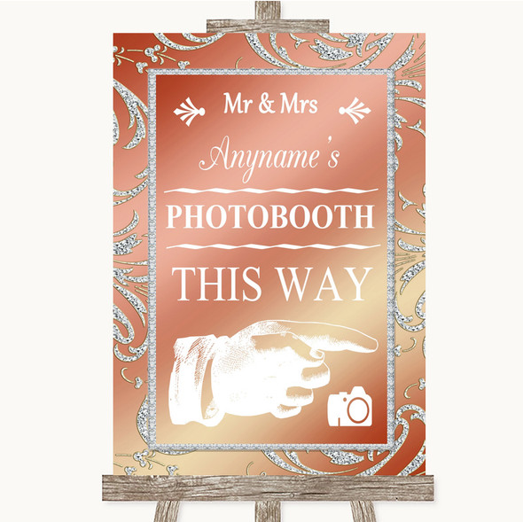 Coral Pink Photobooth This Way Right Personalised Wedding Sign