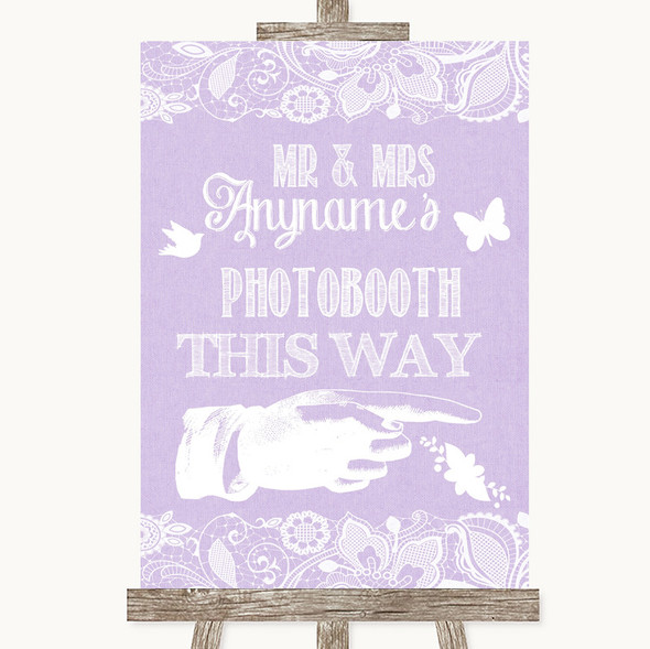 Lilac Burlap & Lace Photobooth This Way Right Personalised Wedding Sign