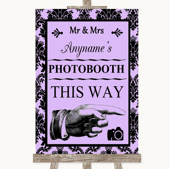 Lilac Damask Photobooth This Way Right Personalised Wedding Sign