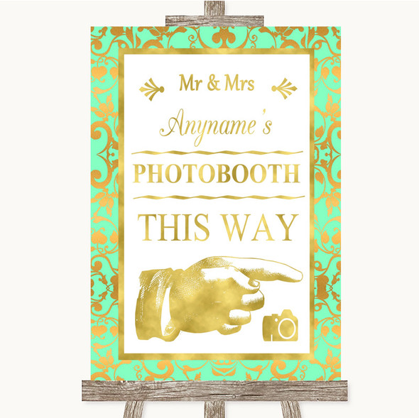 Mint Green & Gold Photobooth This Way Right Personalised Wedding Sign