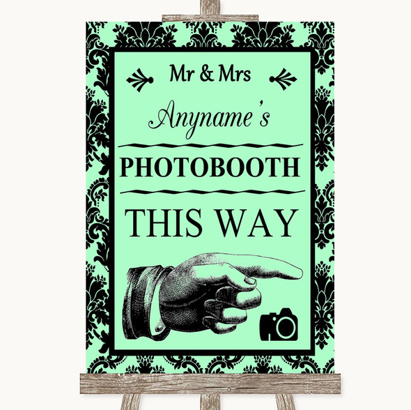 Mint Green Damask Photobooth This Way Right Personalised Wedding Sign
