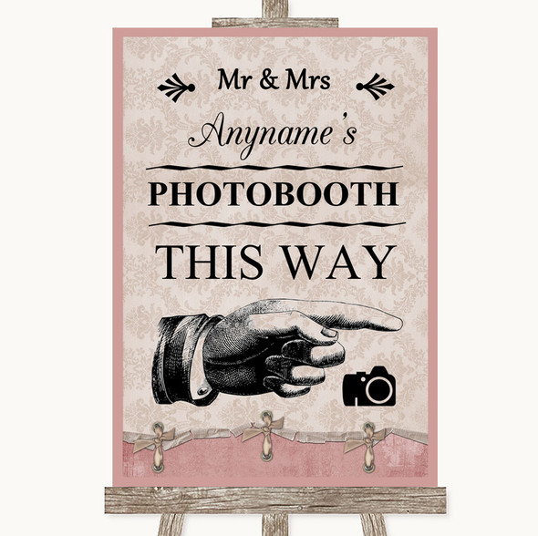 Pink Shabby Chic Photobooth This Way Right Personalised Wedding Sign