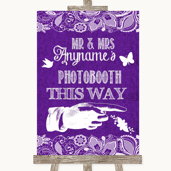 Purple Burlap & Lace Photobooth This Way Right Personalised Wedding Sign