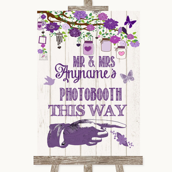 Purple Rustic Wood Photobooth This Way Right Personalised Wedding Sign