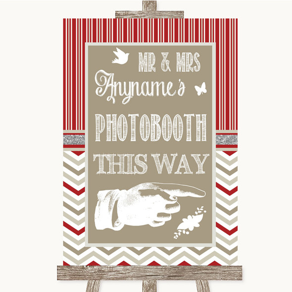 Red & Grey Winter Photobooth This Way Right Personalised Wedding Sign