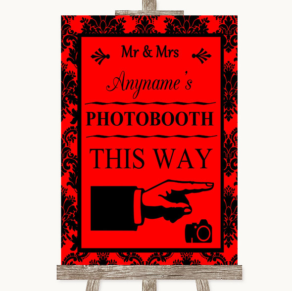 Red Damask Photobooth This Way Right Personalised Wedding Sign