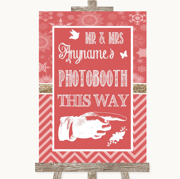 Red Winter Photobooth This Way Right Personalised Wedding Sign
