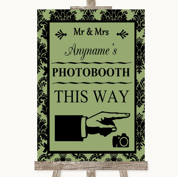 Sage Green Damask Photobooth This Way Right Personalised Wedding Sign