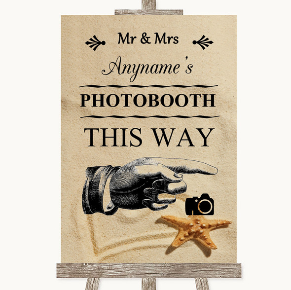 Sandy Beach Photobooth This Way Right Personalised Wedding Sign