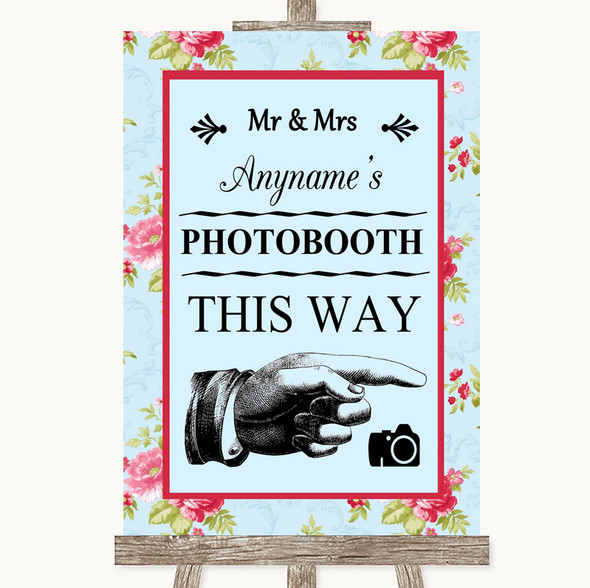 Shabby Chic Floral Photobooth This Way Right Personalised Wedding Sign