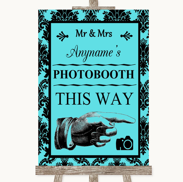 Tiffany Blue Damask Photobooth This Way Right Personalised Wedding Sign