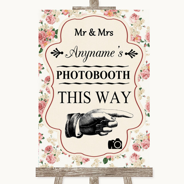 Vintage Roses Photobooth This Way Right Personalised Wedding Sign