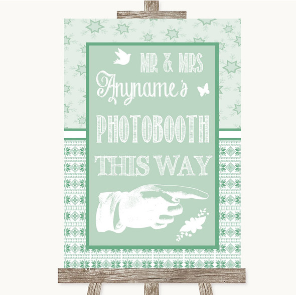 Winter Green Photobooth This Way Right Personalised Wedding Sign